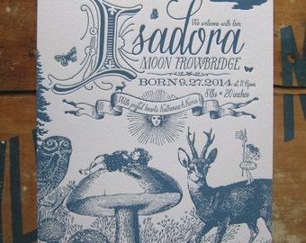 Mystical Flora & Fauna Letterpress Birth Announcements