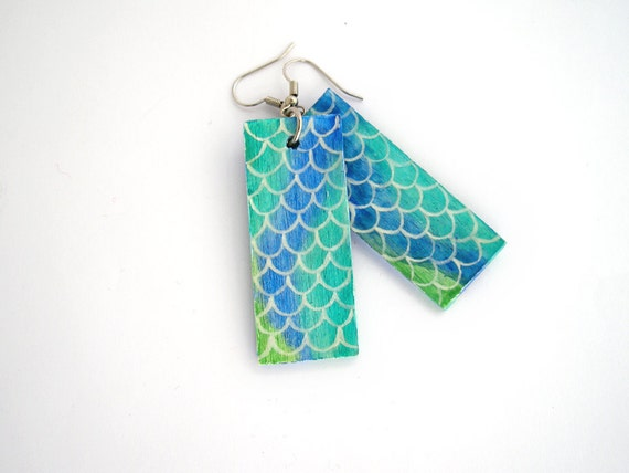 Mermaid earrings, eco friendly jewelry, fish scale pattern, ocean jewelry, blue, green, turquoise, wooden earrings, boho earrings, bohemian