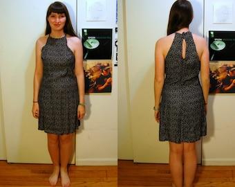 S/M Vintage 90s Black Halter Dress