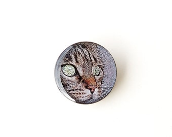 Cat Brooch, Cat Face Photo Brooch, Retro Vintage Style, Cat Jewelry, Resin Jewelry, Animal Jewelry, Gift for Pet Cat Lover, UK (1574)