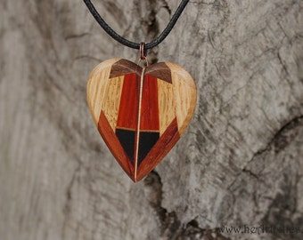 Heart of Many Colors Wooden Mosaic Heart Pendant/Necklace in Nine Different Kinds of Wood