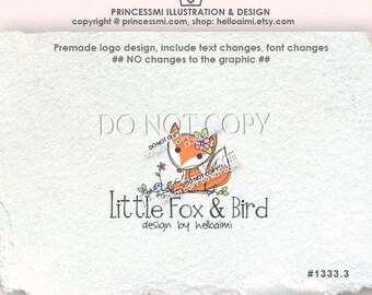 1333-3 fox logo, Premade Logo Design - little fox logo hand drawn logo bird flower logo