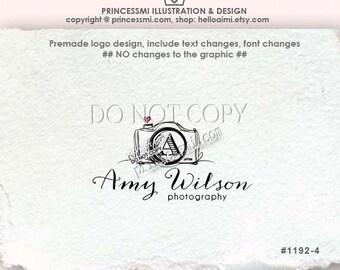 1192-4  photography logo, camera logo, custom logo, photography watermark, Premade Logo Designwith initial camera logo by princessmi