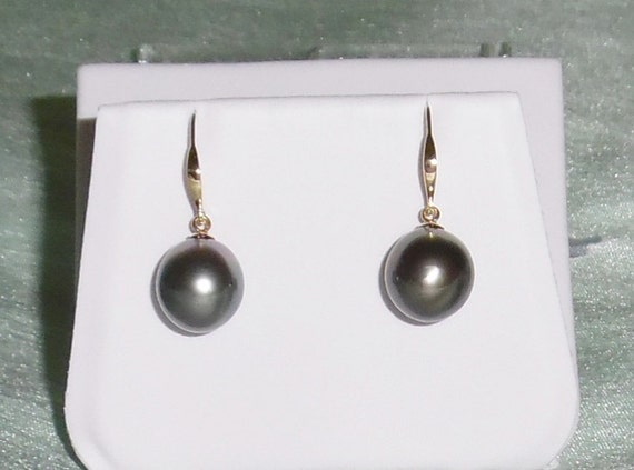 11mm Natural Peacock Gray Tahitian Cultured Pearls, 14kt Solid yellow gold Pierced Earrings