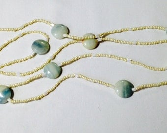 Ivory toned beads with natural stone coin beads