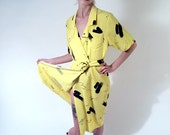 80's Yellow Belted Maxi Dress - 5/6