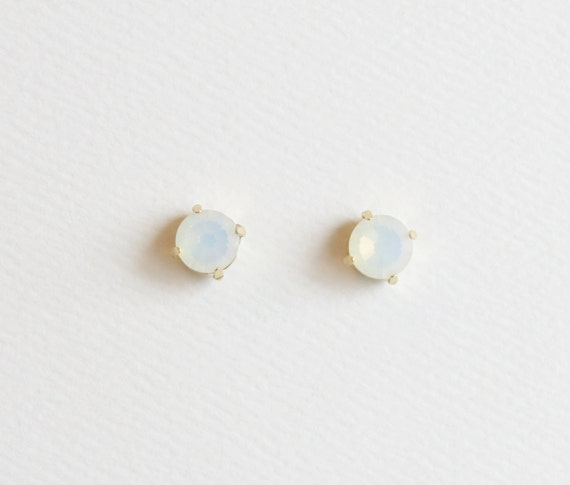 Opal Stud Earrings | White Opal Stud Earring | Opal Earrings | Opal Studs | Swarovski Stud Earrings | October Birthstone