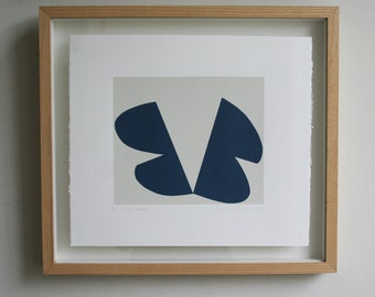 Minimalist print, screen print, modern abstract handmade original art by Emma Lawrenson in dark blue and grey.
