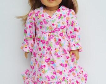 18 inch Doll - Nightgown, Pj's, Flannel, Pink, Floral, Traditional, Ruffles, Sleepwear