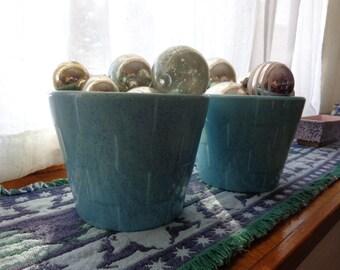 U S Pottery blue planters