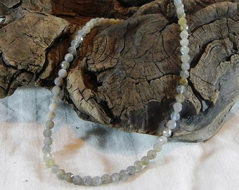 "Pale gray blue labradorite necklace 18"" long faceted 6mm beads semiprecious stone jewelry packaged in a colorful gift bag  11040"
