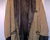 Antique Vintage Mens 20s Smoking Jacket Corduroy Velvet Silk Satin Stripe XL