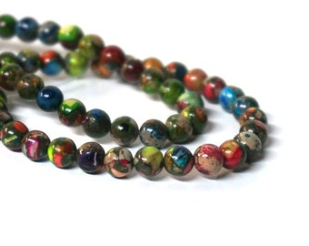 6mm Mixed Impression Jasper, round gemstone bead, colorful rainbow, full & half strands available  (1083S)