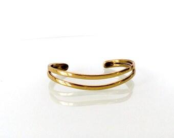 Thin Brass Cuff Double Strand Adjustable