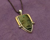 Mask Pendant - Jade, Emerald, Sterling Silver & Brass