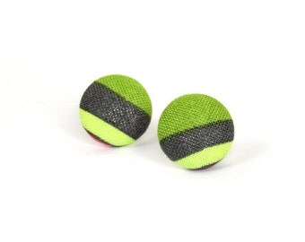 Striped stud earrings - tiny button earrings small - fabric covered earrings - lime green olive grey
