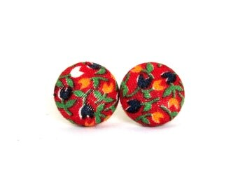 Floral button earrings - vintage style fabric earrings - retro stud earrings - hippie red yellow green blue white