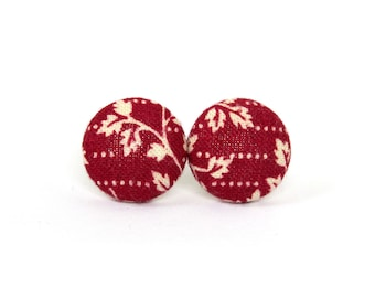 Tiny dark red earrings - red stud earrings - red fabric earrings - red button earrings - white small leaves post earrings