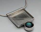 Sterling Silver Leafprint and Labradorite Necklace