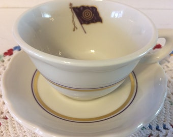 "Syracruse China Freemason Cup and Saucer ""Vitute Silemtio, Amore"" Purple Flag"