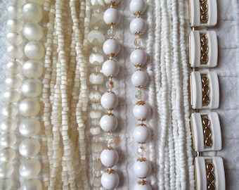 6 WHITE Multi Strand Vintage Bead Necklaces to WEAR or CRAFT with