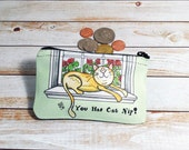 Cat Nip Coin Purse Change Pouch Wallet Cat in a Window with Flowers Geraniums Mint Green Sunshine