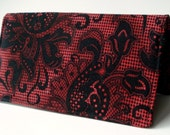 Checkbook Cover, Gothic, Black Lace, Checkbook Holder, Gift For Her, Black And Red, Victorian, Gift Under 15