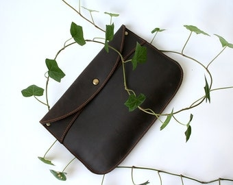 Leather Companion Clutch- leather snap clutch- brown leather envelope clutch- envelope clutch purse- leather clutch