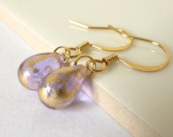Lilac and Gold, Teardrop Beads, Glass Dangle Earrings, Glass Earrings, Everyday Jewellery, UK Earrings