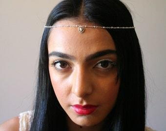 Sacred Heart Chain Headband- boho- headpiece- cleopatra- art deco- flapper- upcycled - party