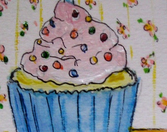 Original ACEO Artist Trading Card Watercolor Painting of Happy Birthday Cupcake and Burning Candle-Make a Wish