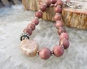 dusty pink bracelet . BALI ROSE . rhodonite bracelet . Oregon snakeskin agate bracelet . one of a kind bracelet . stone bracelet . silver
