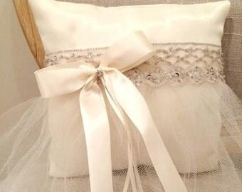 Ring Boy Pillow, Ivory Ring Pillow, Ivory Wedding, Ring Bearer Pillow, Ring Pillow, White Wedding,  Flower Girl Tutu, Flower Girl Basket