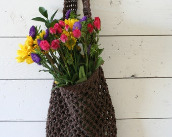 Farmers Market Bag - Reusable Cotton Grocery Tote -  Chocolate