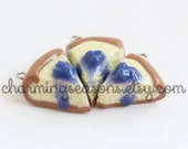 Blueberry Cheesecake Charm, Cake Charm Jewelry, Mini Clay Food