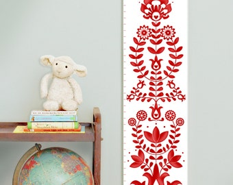 Custom/ Personalized folk art  red canvas growth chart for gender neutral nursery
