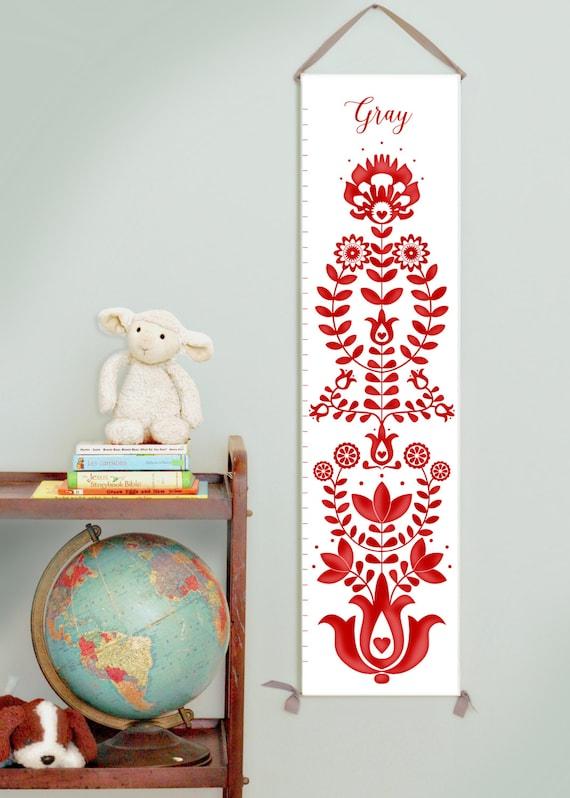 Custom/ Personalized folk art  red canvas growth chart for gender neutral nursery
