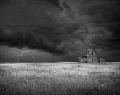 Abandoned Farm House on the Prairie with Thunderstorm and Lightning in North Dakota No.BW12x18 A Fine Art Nature Landscape Photograph