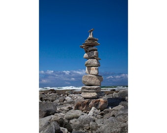 Cairn Stone Pile Stacked on the Lake Michigan Beach by Charlevoix Michigan No.1432 A Fine Art Seascape Photograph