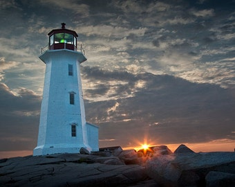 Lighthouse Sunrise at Peggy's Cove Fishing Village near Halifax in Nova Scotia Canada No.0414 A Fine Art Seascape Lighthouse Photograph