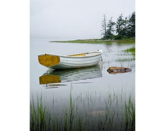 White Wooden Row Boat anchored during high tide on a Misty Morning by Mount Desert Island in Maine No.1912 A Seascape Boat Photograph
