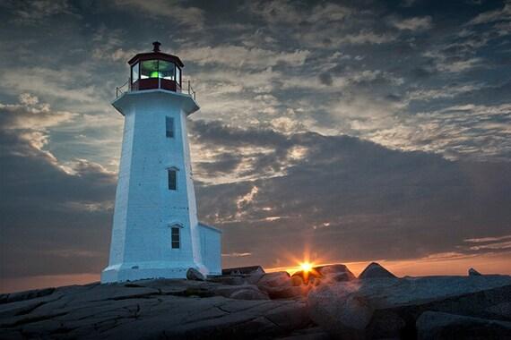 Lighthouse Sunrise at Peggy's Cove Fishing Village near Halifax in Nova Scotia Canada No.0414 A Fine Art Seascape Lighthouse Photograph