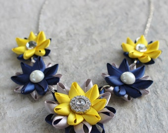 Navy Necklace, Navy Blue, Silver, Yellow Necklace, Unique Wedding Jewelry, Unique Bridesmaid Necklaces, Navy and Yellow Wedding Flowers