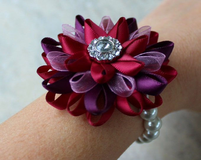 Flower Corsage, Flower Wrist Corsage, Maroon Corsage, Purple, Wine Corsage, Maroon Wedding Flowers, Wrist Flowers, Wine and Purple Wedding