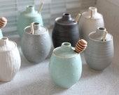 Pottery Honey Pot - Polka Dot Sea foam Green Ceramic Pot
