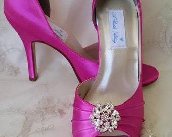 Wedding Shoes Fuchsia Bridal Shoes with Crystal Flower Design Over 100 Custom Color Choices