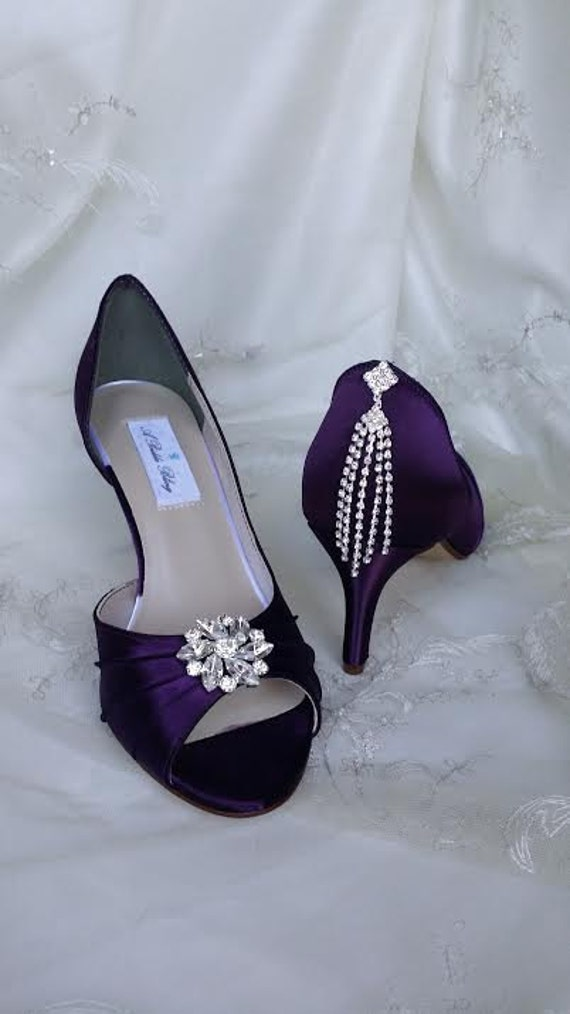 eggplant wedding shoes purple eggplant bridal shoes with crystals 100 color 3842
