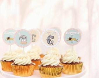 Pink Circus Carnival Cupcake Toppers, Party Circles- Printable