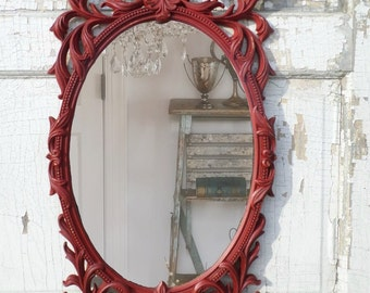 R E D  Baroque Mirror Shabby Chic French Cottage Design