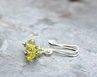 Lemon Quartz Earrings Peridot Petite Sterling Silver Delicate Jewelry Gemstone Earrings